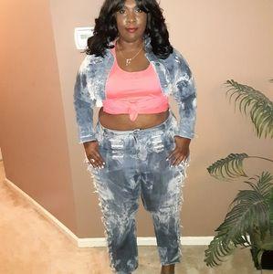 Distressed Denim Jeans Custom Plus Size